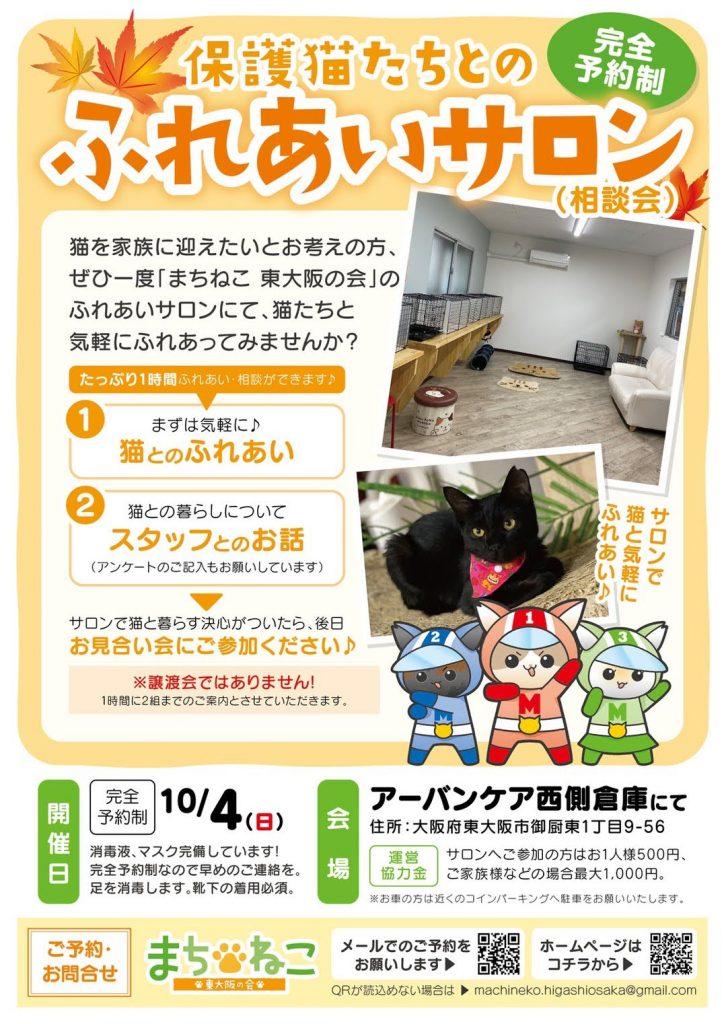 【10月4日】完全予約制!保護猫たちとのふれあいサロン