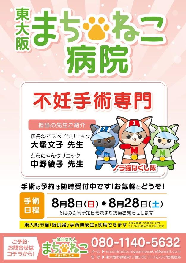 【8月の手術日】8日(日)・28日(土)